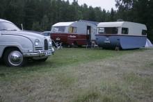 Fint sällskap på ängen. En 1600-milare, Saab 96 1960!