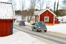 Rallyt gick på vintervackra Roslagsvägar.