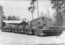 Hudiksvalls taxis fordonsflotta 1958.