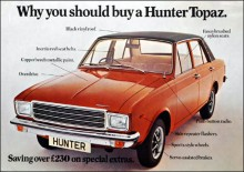 Hillman Hunter Topaz var en special edition 1975 fanns bara i vinrött och var de sista Arrows med Hillmans namn