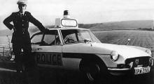 MGB tjänstgjorde även som polisbil, här från Sussex 1972.