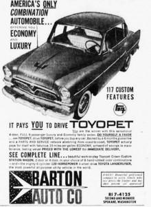 Tidig USA-annons för Toyopet Crown.