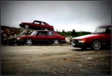 """Bilarna är: """"Captaian"""" Isaks 1991 900S med 79:ans front.  """"Ingvar 2,0"""", Hugos 900S årsmodell 1990 och """"Greger"""", Tompas 900S, 1990"""