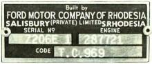 chassiplåten som bevisar att du har en äkta Rhodesia-byggd Ford