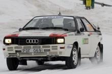 Erik Johansson och kartläsaren Stefan Gustavsson blev tvåa med sin Audi Coupé Quattro 1981.