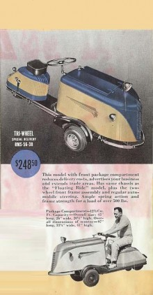 Ett annat fordon från Rock-Ola, trehjulig lastvagn med tuff design, men troligen byggdes bara ett fåtal.