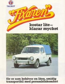 Fixaren som den såg ut i Sverige 1982, fanns både som flakbil och skåp.