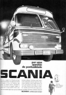"""Rubriken säger """"När det gäller punktlighet - Scania""""  i denna reklamen från 1969."""