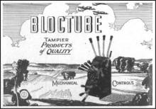 Denna reklam är från 1945 för Bloctubes mekaniska reglage. Bloctube är idag ett världsomspännande företag främst inom marinindustrin.