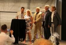 De drivande bakom projektet, Torbjörn von Braun, Christer Fehrling, Johnny Olsson, Frank Bergqvist, här presenterade av von Braun Sportscars eventmanager Anette Manley.
