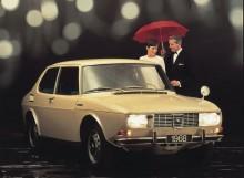 Tidig studiobild för Saab 99 årsmodell 1968 som inte blev av. Förseriebilarna hade huvmonterad spegel och lite annan utformning på huvsidans emblem.
