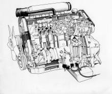 Genomskärningsbild av D24-motorn.