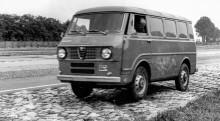 Alfa Romeo hade en lång tradition av att bygga nyttofordon, från stora lastbilar ner till mindre skåpbilar. Här hårdkörs en F 12 Diesel på testbanan Balocco.