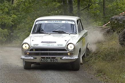 "Tony ""Roten"" Jansson i Lotus Cortina vinner mycket just nu."