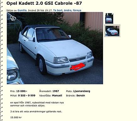 Hala Kadett E gör sig mycket bra som cab, byggdes av Bertone.