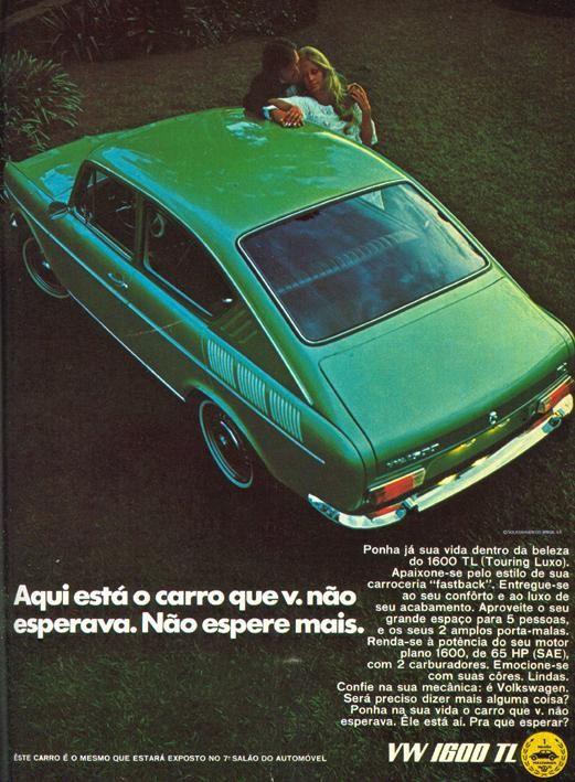 Volkswagen 1600TL 1971, typ 3 modellen hade egen form i Brasilien, fanns även som fyrdörrars sedan.