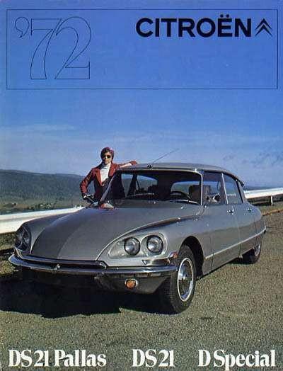 Omslaget till USA-broschyren 1972. Amerikanska myndigheter gillade inte täckglas över strålkastarna, därav den egensinniga insatsen med dubbla lampor på Paddan, med seald beam-lampor. Nya hårdare importregler stoppade dock i princip all Citroënimport till USA efter detta.