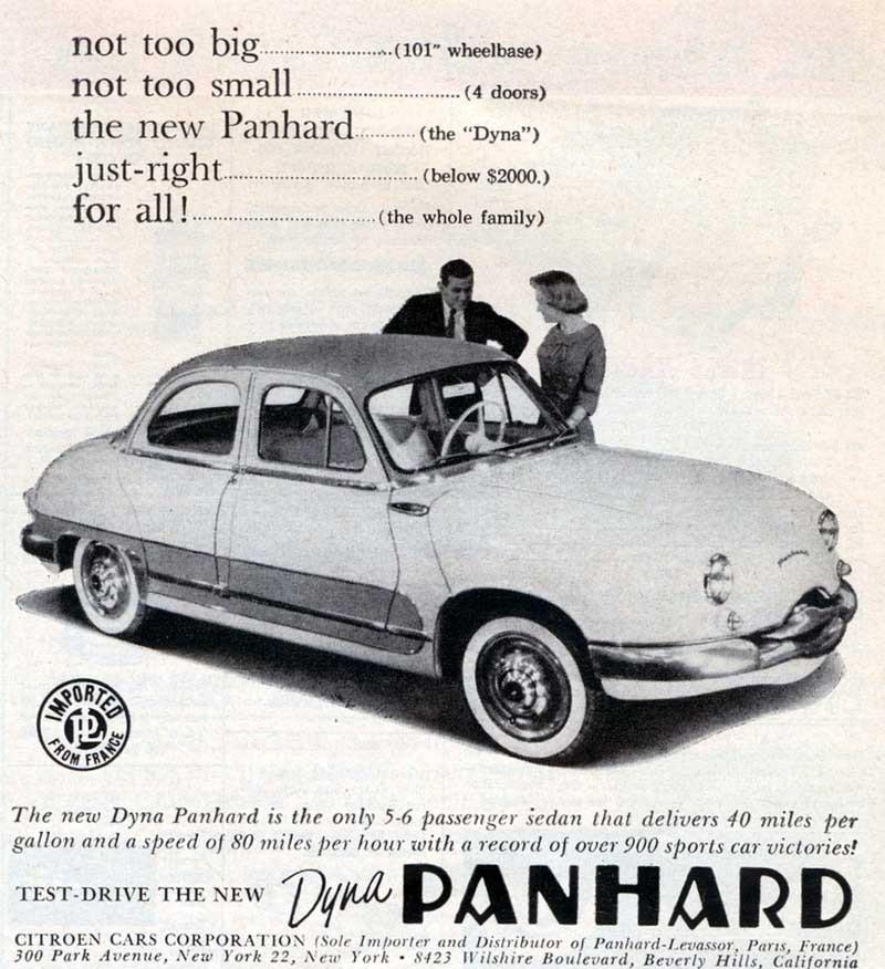 Panhard i USA såldes genom Citroens återförsäljare, 1958