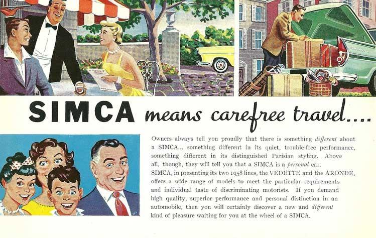 Även Simca tog sig in på USA-marknaden med den mycket USA-influerade Vedetten