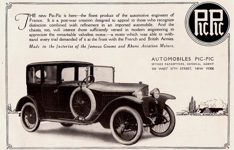 Särling i sammanhanget, denna annons är från 1920 för bilen med det lustiga namnet Pic-Pic. Den var ursprungligen en Schweizisk bil, men de sista åren byggdes dessa av den franska motortillverkaren Gnome&Rhône. Troligtvis byggdes väldigt få av dessa fram till 1924.