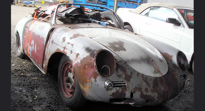 Risig men betald... Skicket lämnar kanske lite övrigt att önska, men då detta är en äkta 356 Speedster, kan det nog vara värt att importera och göra i ordning ett sådant här objekt, drygt 8000 speedsters byggdes 1954-61.