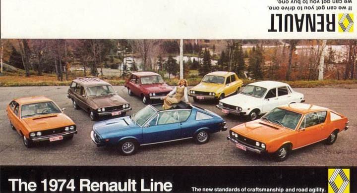 Hela Renaultfamiljen i Amerika 1974.