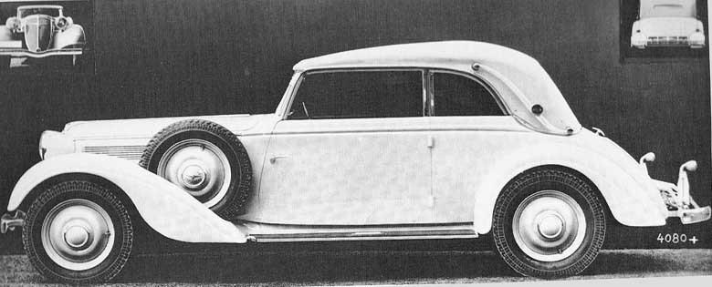 En större Adler Diplomat med elegant autenriethkaross, från 1936.