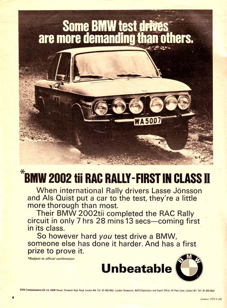 Brittisk annons för tuffa 2002tii 1972, här med ingen mindre än vår egen Lasse Jönssons ekipage i RAC rallyt.