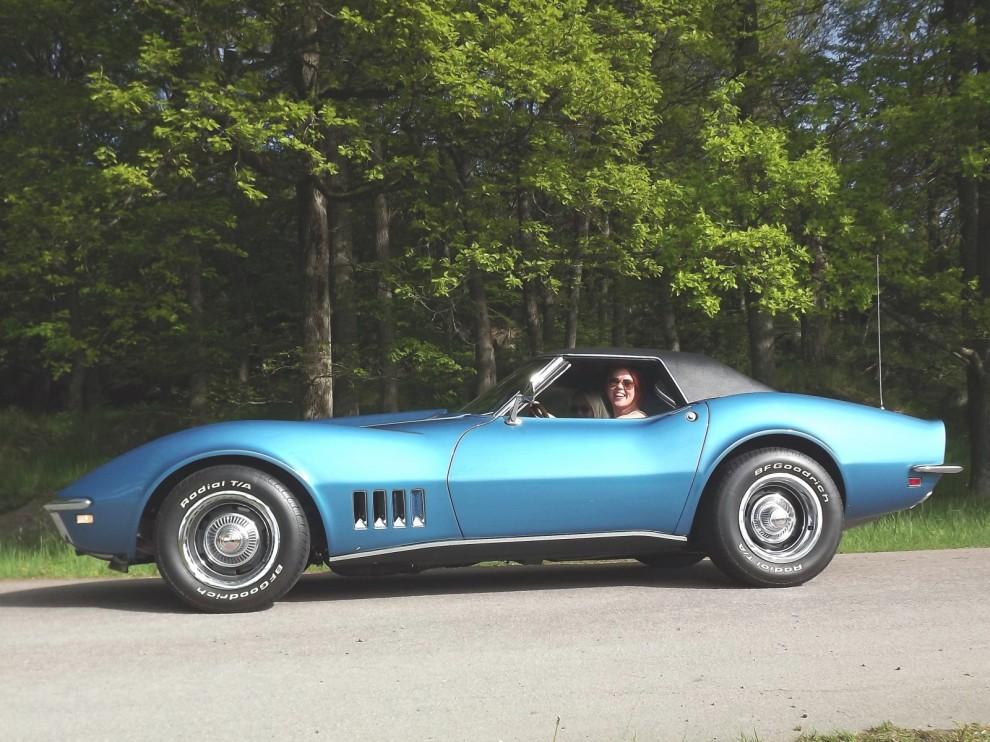 Glada tjejer anländer i blå Corvette