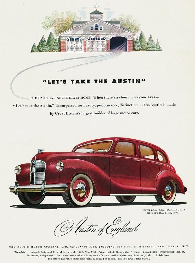 Austin salufördes flott, en aristokratisk fläkt från den gamla världen. Austin Devon 1948.