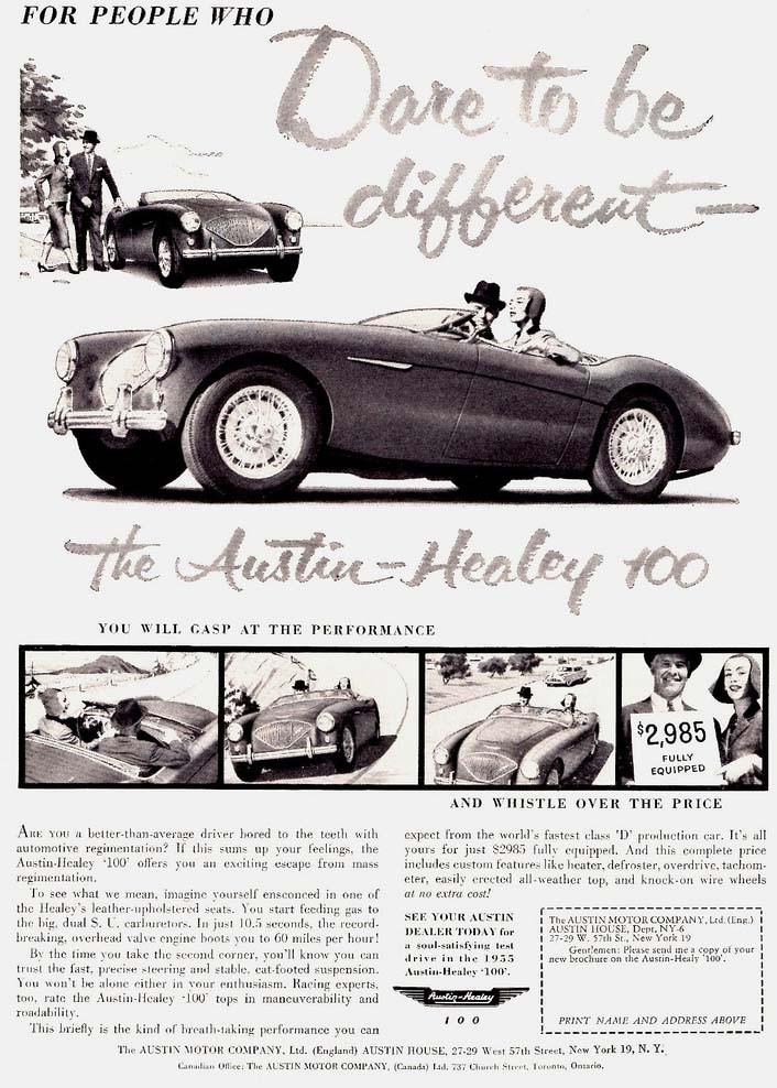 De engelska sportvagnarna blev snabbt populära i Amerika, som Austin-Healey