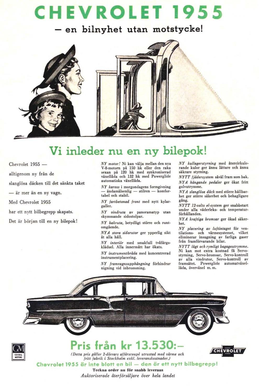 Chevrolet 1955, storsäljare i sammanhanget, 2330 stycken såldes i Sverige