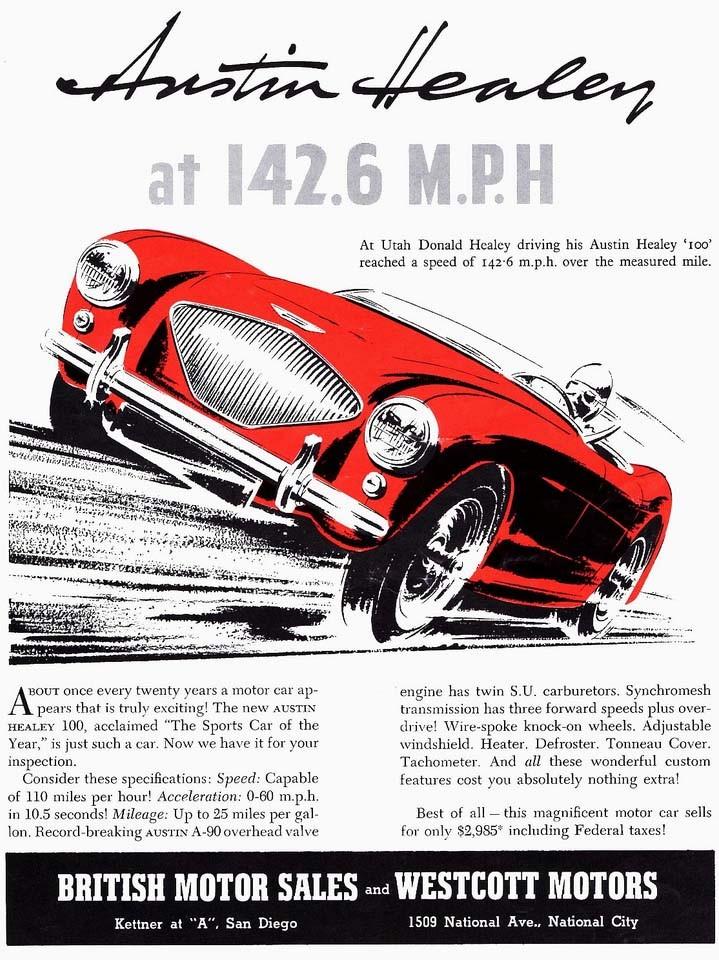 Austin Helay blev snabbt populär i Amerika, sinnebilden för den brittiska sportbilen. USA-exporten var livsviktig för de brittiska märkenas överlevnad.
