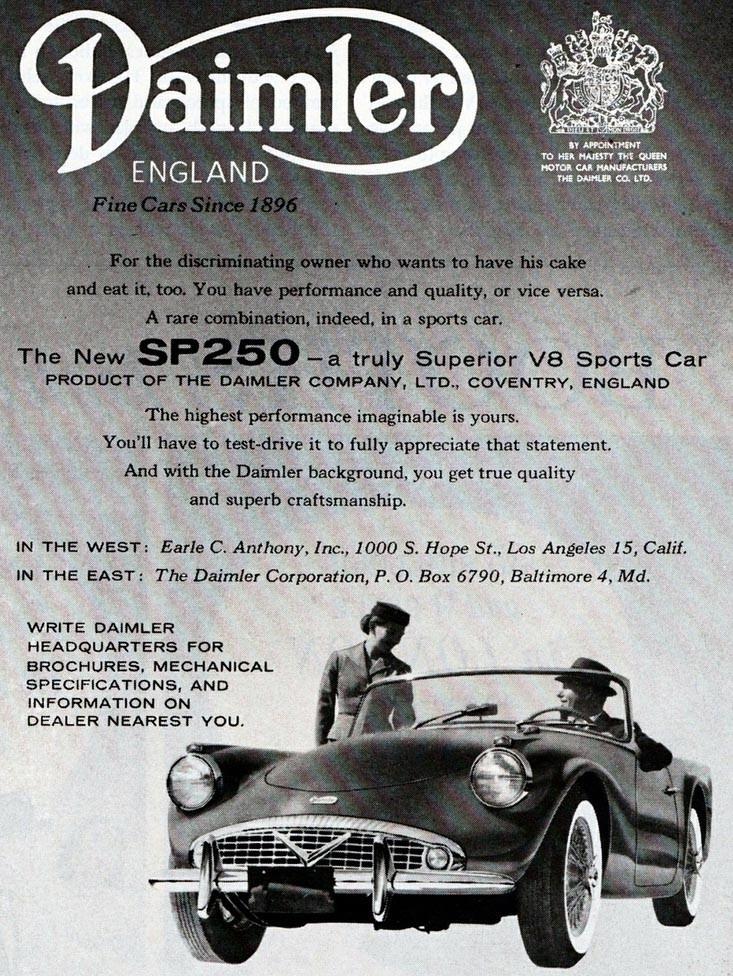 Vita sidor, ekerfälgar, kromat V i grillen och fenor bak. Så lyckades Daimler inte flirta in sig i nordamerika med SP250.
