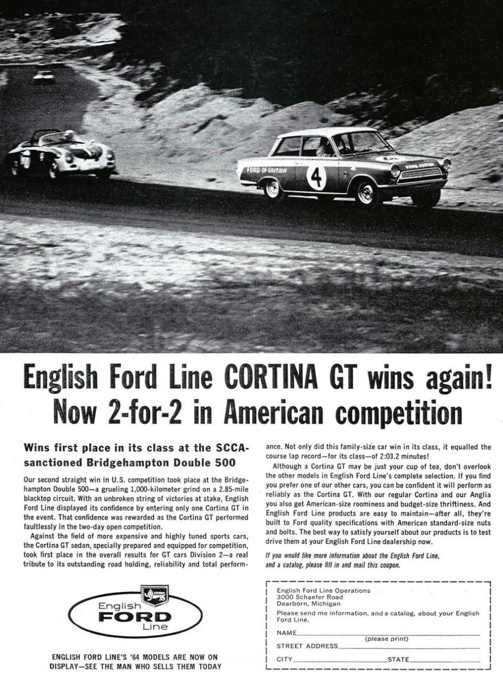 Ford skapade också en sportig image med sin Cortina GT