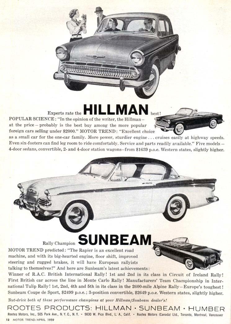 Rootes modeller 1959, i USA-influerat mode.
