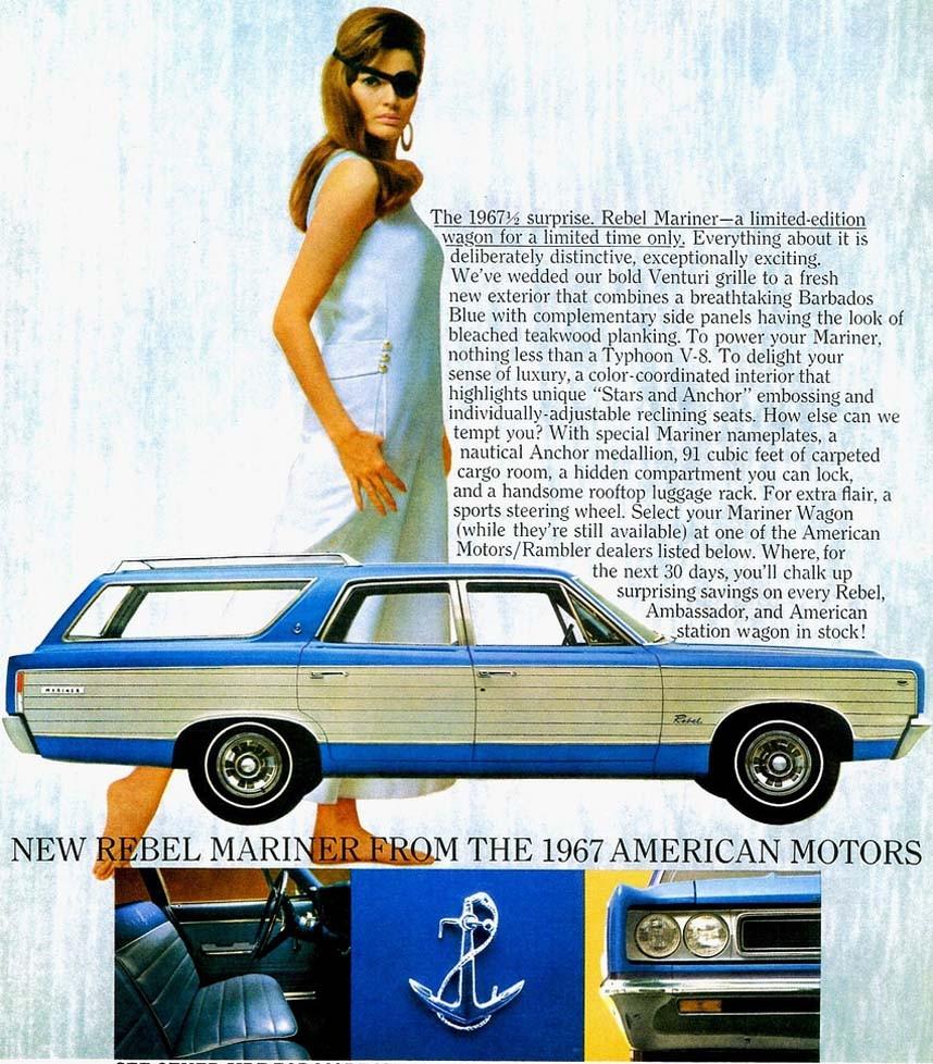 Rambler Rebel Mariner 1967, specialmodell med nautiskt tema som såldes på västkusten.