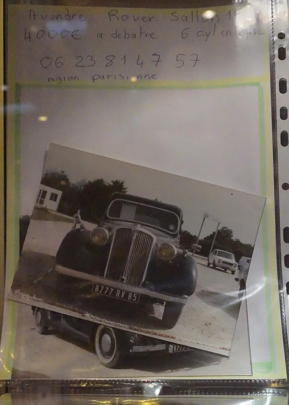Slutligen ett tips till vänner av Rover - en 6-cylindrig P2 1947 till salu i Paris för prutbara 4000 euro!