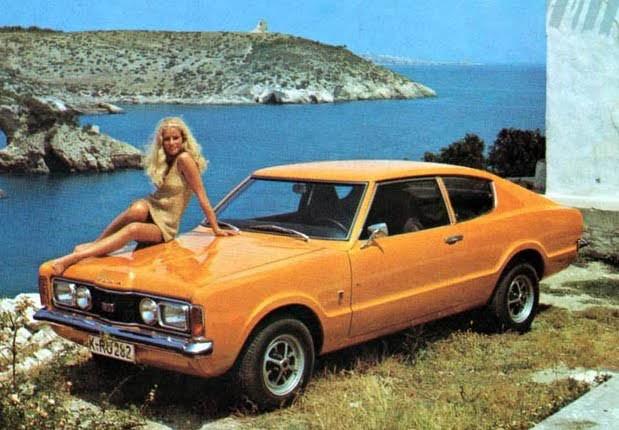 Lite varmare klimat 1971, med Taunus GT vid havet.