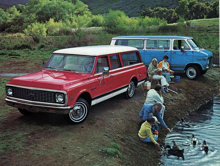 Chevrolet 1972, Van och Suburban, bäst att ta med båda två om man skulle fånga mycket fisk.