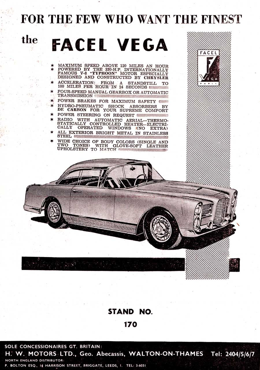 Fransk lyx, Facel Vega salufördes genom Hoffman i New York som så många andra exotiska märken genom åren.