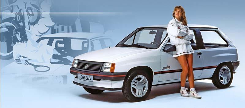 Steffi Graf var 80-talets hetaste damtennisstjärna, och anlitades flitigt av Opels reklamavdelning, här med en Opel Corsa Swing.