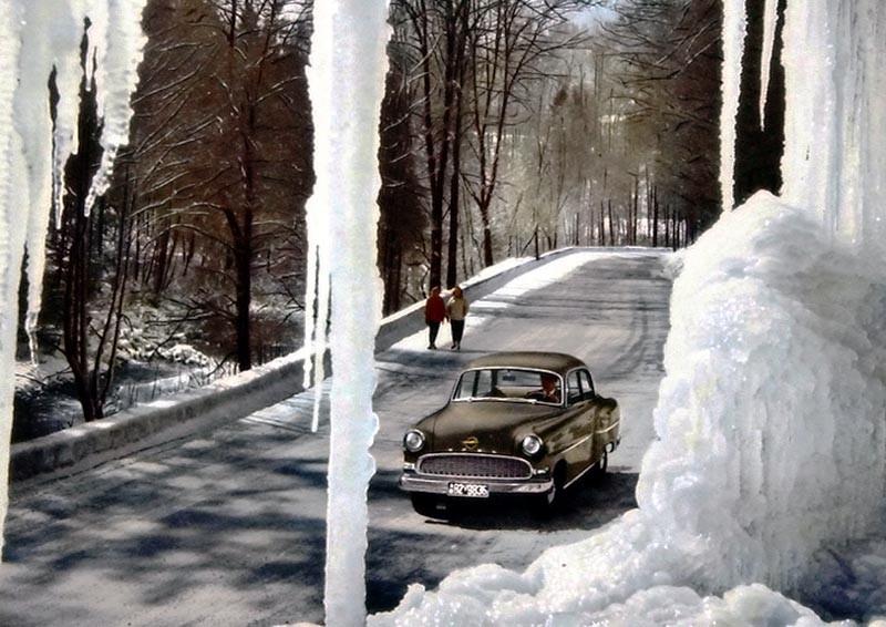 Olympia Rekord mellan istappar 1956