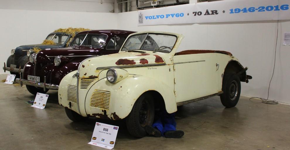 Jubileumsmonter för PV60, närmast en ovanlig Nordbergscabriolet.