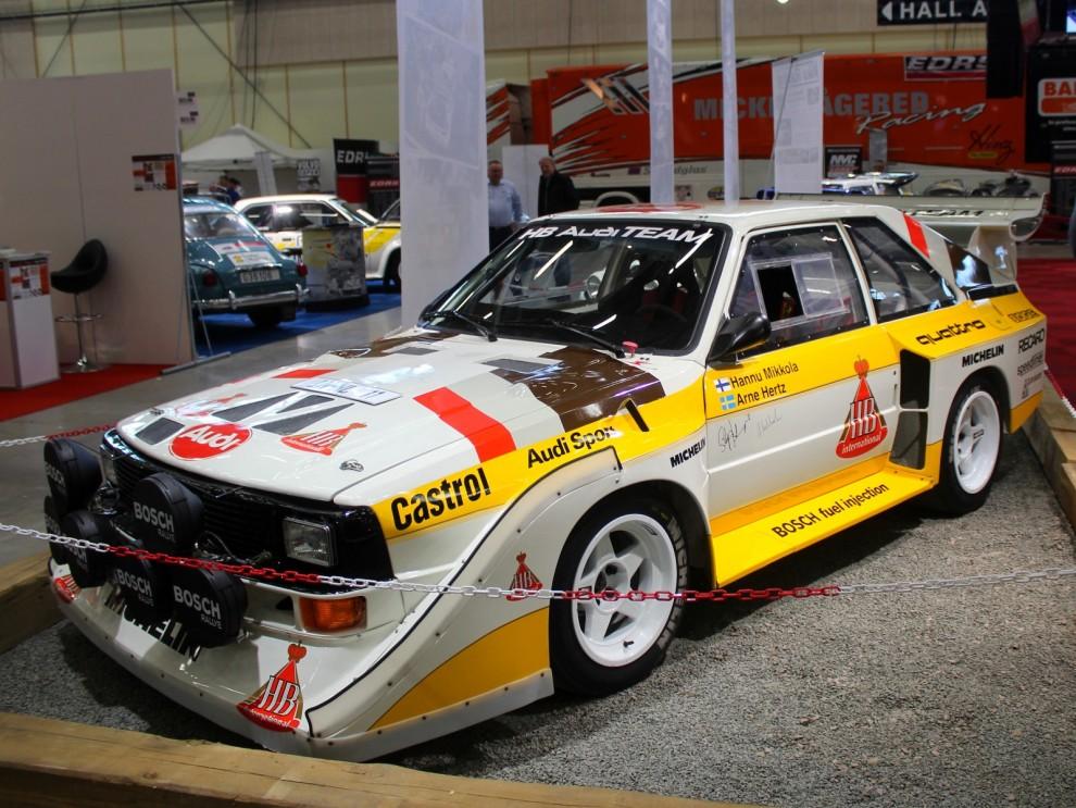 Åttiotalets mest framgångsrika rallybil, Audi Sport Quattro, här i sista fasen som kallades E2. Med över 500 hästar och 1050 kilo bil gick den ungefär lika fort på tvären som rakt fram.