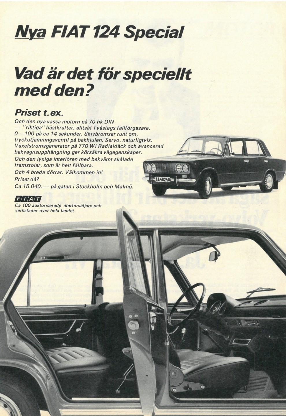 Underdog-läget är sällan utnyttjat i dagens bilreklam. Fiat 1969.