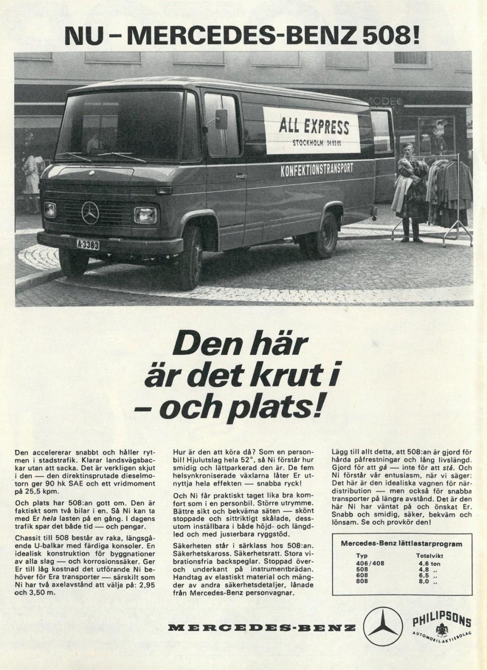 Nyttobilar säljs med andra argument. Mercedes 1968