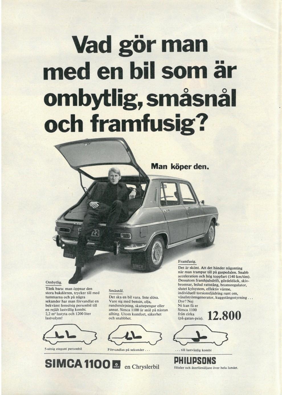 Funktionalitet och chosefrihet. Simca 1969.