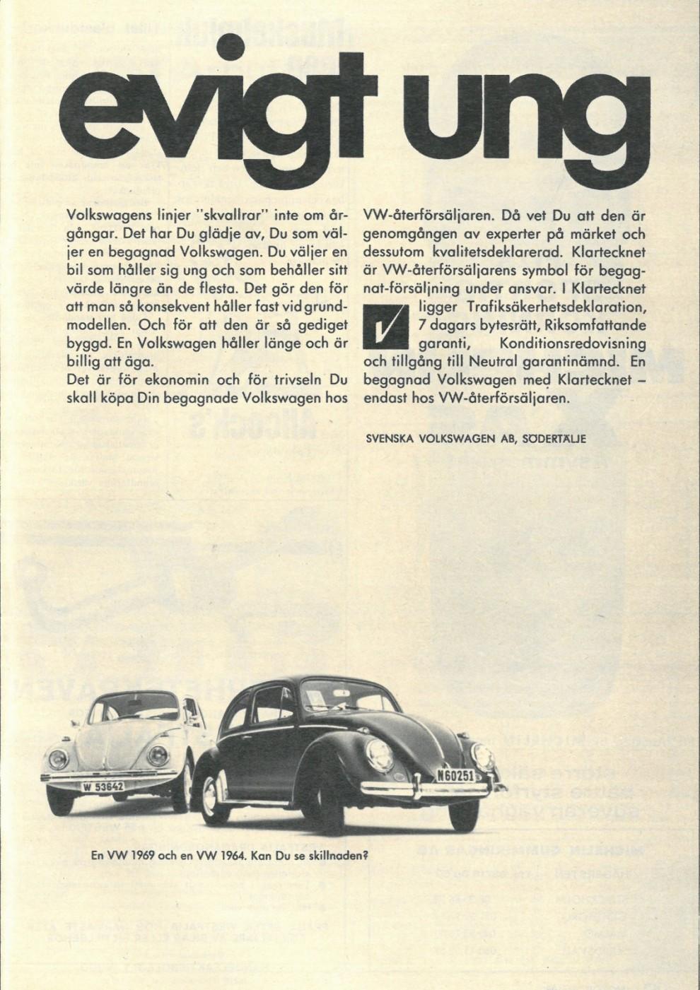 En åldrande modell säljs med ungdom. Volkswagen 1969.