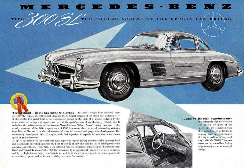Mercedes Benz 300SL var bland det dyraste man kunde köpa 1954, prislappen var cirka 6400 dollar i Amerika. 300SL kom till genom påtryckning av den amerikanska importören Hoffman och drygt 80% av allihop såldes där.